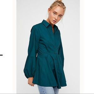 Free People Dark Green  All The Time Tunic Shirt